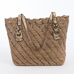 Honey And Gold Medium Crochet Raffia Bag