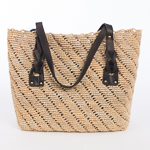 Natural And Brown Medium Crochet Raffia Bag
