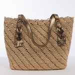 Natural And Gold Medium Crochet Raffia Bag