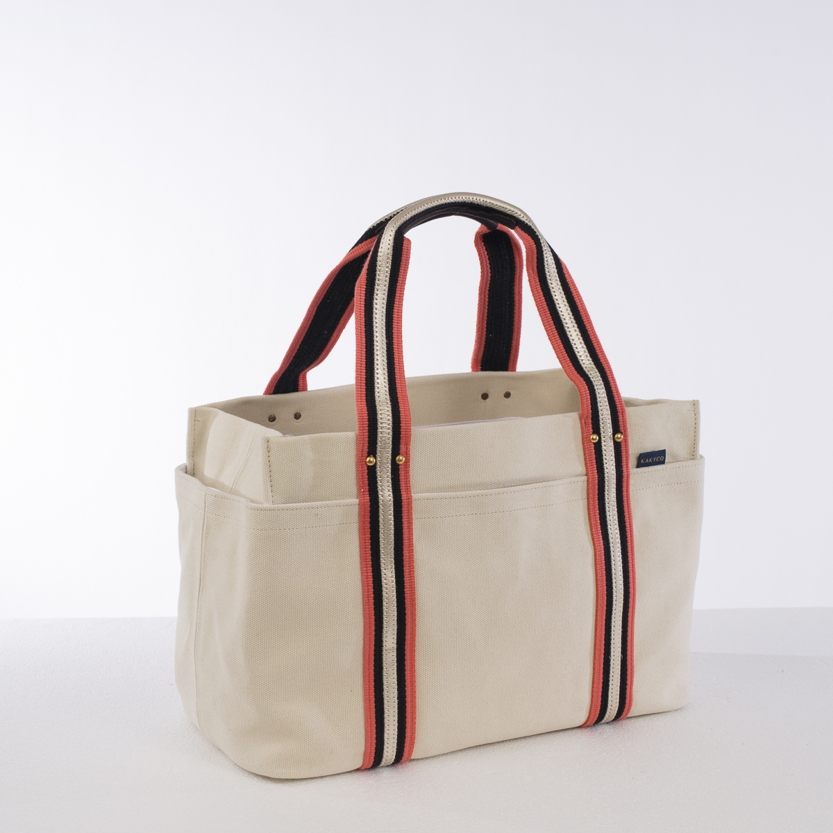 Natural And Coral Large Durable Canvas Tote Bag 202005l Nc