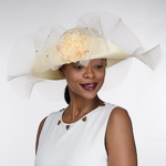 Cream Flip Up Peony Adorned Ruffles Brim Poly Straw Hats