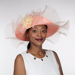 Peach Flip Up Peony Adorned Ruffles Brim Poly Straw Hats