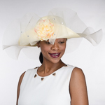 Flip Up Peony Adorned Ruffles Brim Poly Straw Hats 037a1408886f