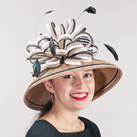 Cognac Black Two Tone Bow Stripe Tall Crown Poly Straw Hats
