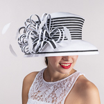 White Black Two Tone Bow Stripe Tall Crown Poly Straw Hats