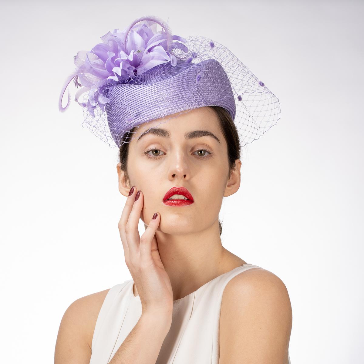 Lilac Flower Veil Pillbox Hats-301725-LL- Sun Yorkos  a1827571f71