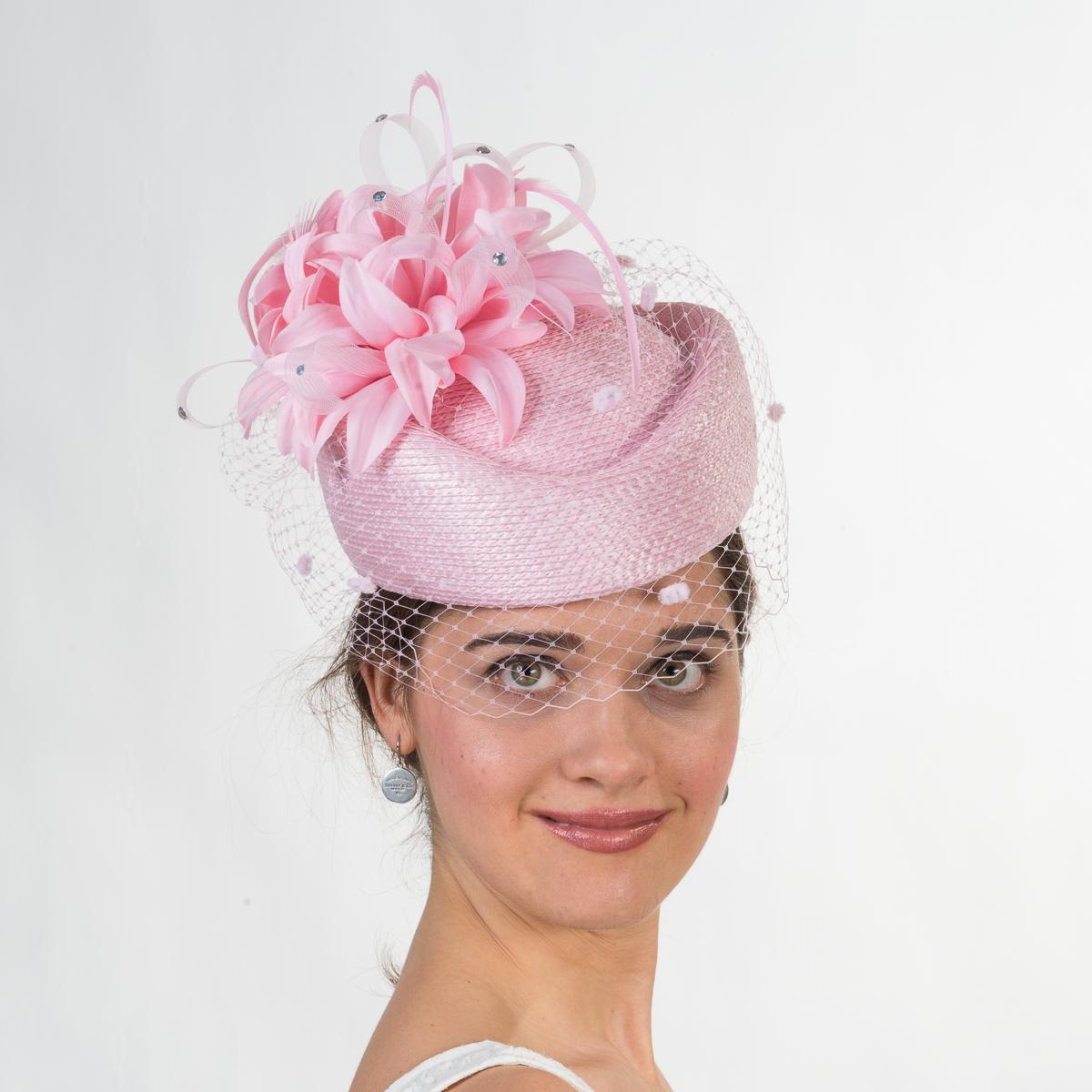 Pink Flower Veil Pillbox Hats-301725-PK- Sun Yorkos  5ac0422fdee