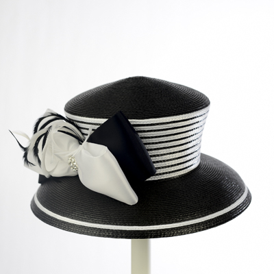Black / White Two-Tones Taffeta Bow Sun Protection Hats