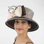 Brown / Beige Two-Tones Taffeta Bow Sun Protection Hats
