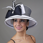 White / Black Two-Tones Taffeta Bow Sun Protection Hats
