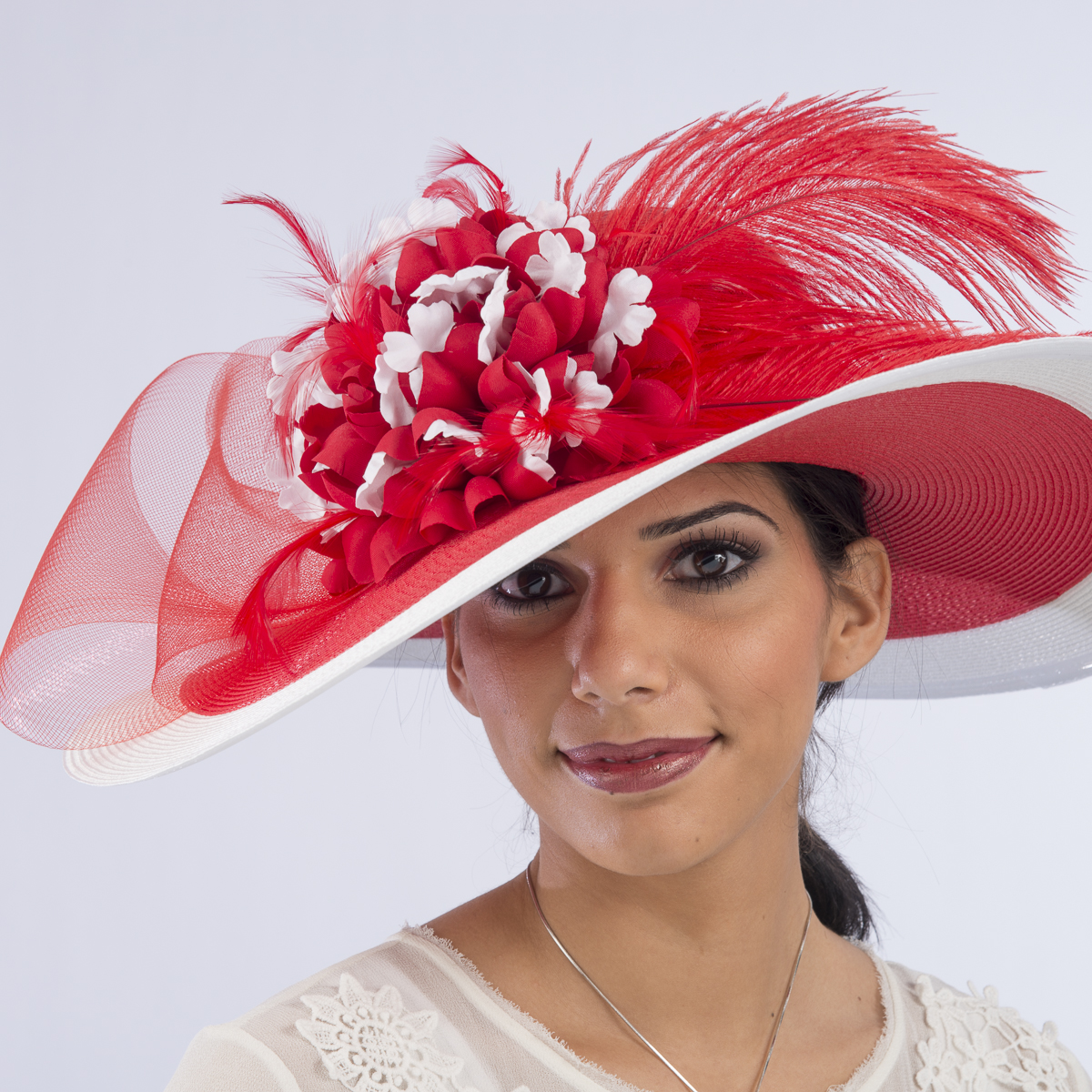 86479d07b3c Red-White Two-Tones Swinger Feather Flower Sun Protection Hats-301738-RD.WT-  Sun Yorkos