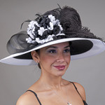Black / White Two-Tones Swinger Feather Flower Sun Protection Hats