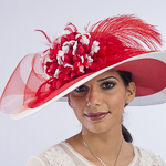 Red / White Two-Tones Swinger Feather Flower Sun Protection Hats
