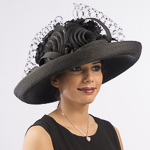 Black Large Veiling Flower Bow Sun Protection Hats