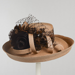 Bronze Large Veiling Flower Bow Sun Protection Hats