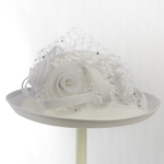 White Large Veiling Flower Bow Sun Protection Hats