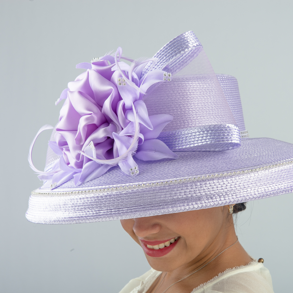 Lilac Large Brimmed Satin Flower Sun Protection Straw Hats-301758-LL ... 759e4ce632ff