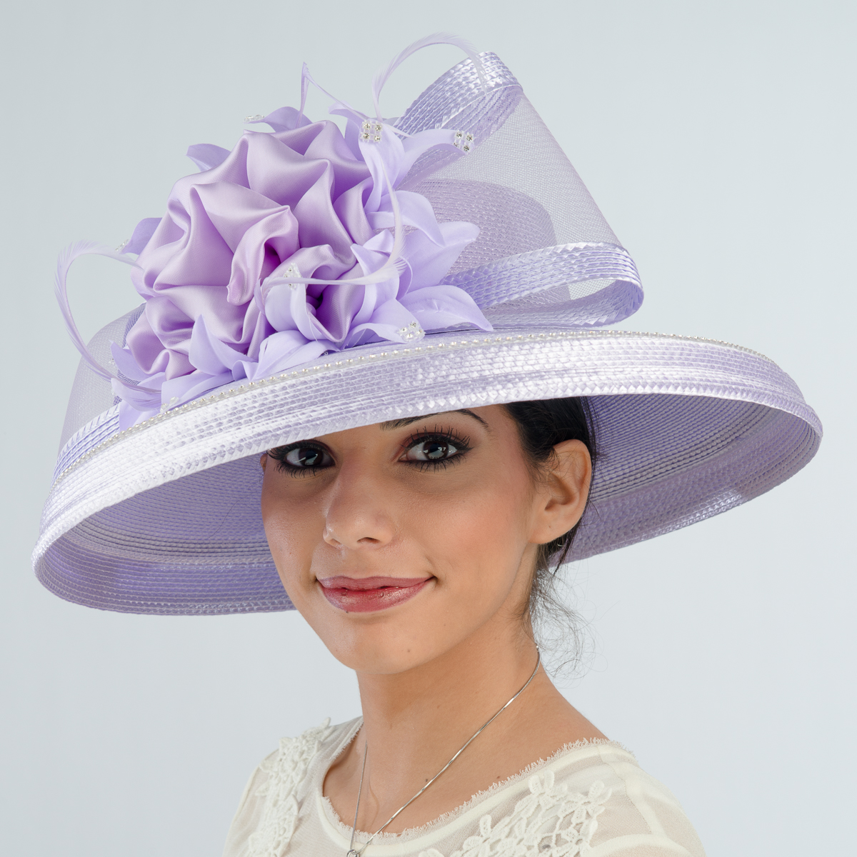 Lilac Large Brimmed Satin Flower Sun Protection Straw Hats-301758-LL- Sun  Yorkos  fa538f5678cb