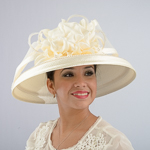 Ivory Large Brimmed Satin Flower Sun Protection Straw Hats