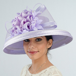 Lilac Large Brimmed Satin Flower Sun Protection Straw Hats