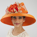Orange / Gold Large Brimmed Satin Flower Sun Protection Straw Hats