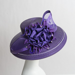 Purple Large Brimmed Satin Flower Sun Protection Straw Hats