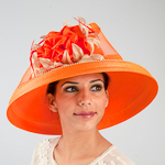 Large Brimmed Satin Flower Sun Protection Straw Hats