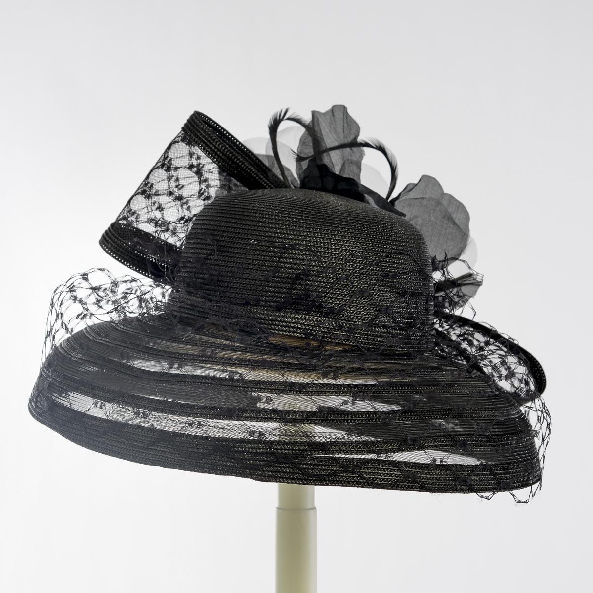 Black Crinoline Brim Silk Flower Veiling Bow Hats 301759 Bk Sun