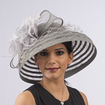 Grey Crinoline Brim Silk Flower Veiling Bow Hats