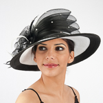 White / Black Two-Tones Multilevel Bow Sun Protection Straw Hats