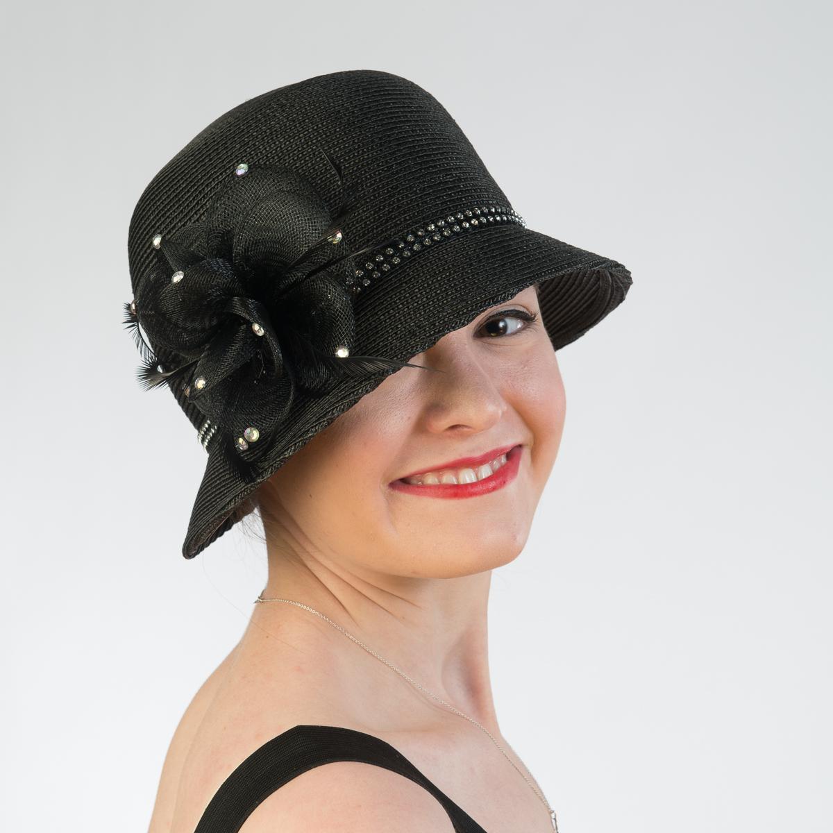 a4359497917d0 Black Rhinestone Band Crinoline Bow Cloche Hats-301767-BK- Sun Yorkos