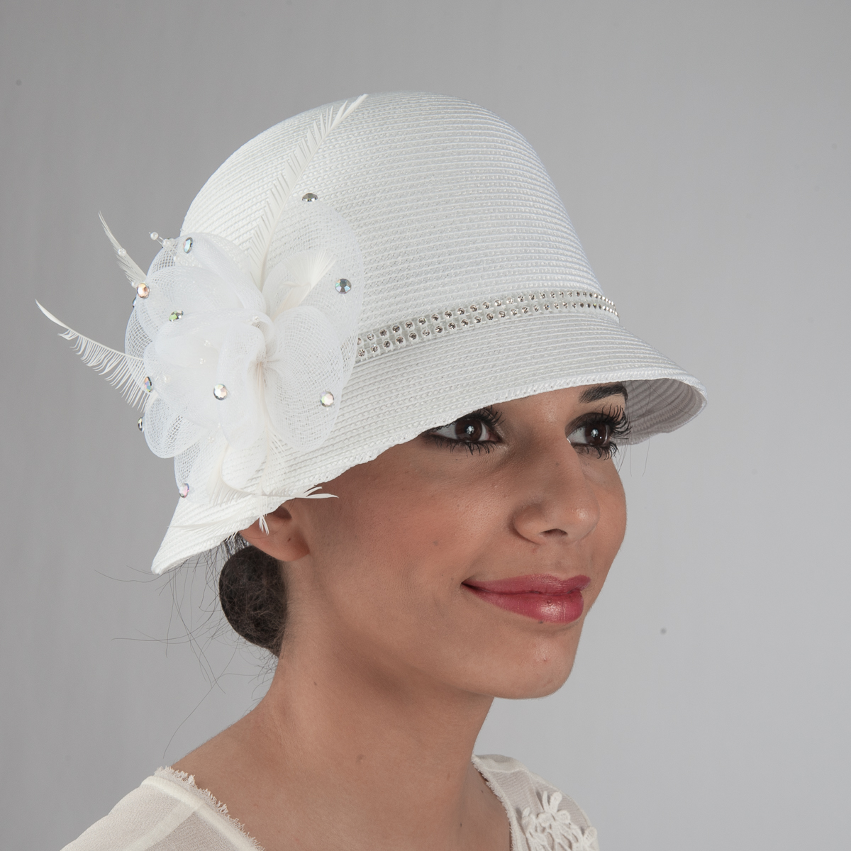 3d5288d97ea8b White Rhinestone Band Crinoline Bow Cloche Hats-301767-WT- Sun Yorkos
