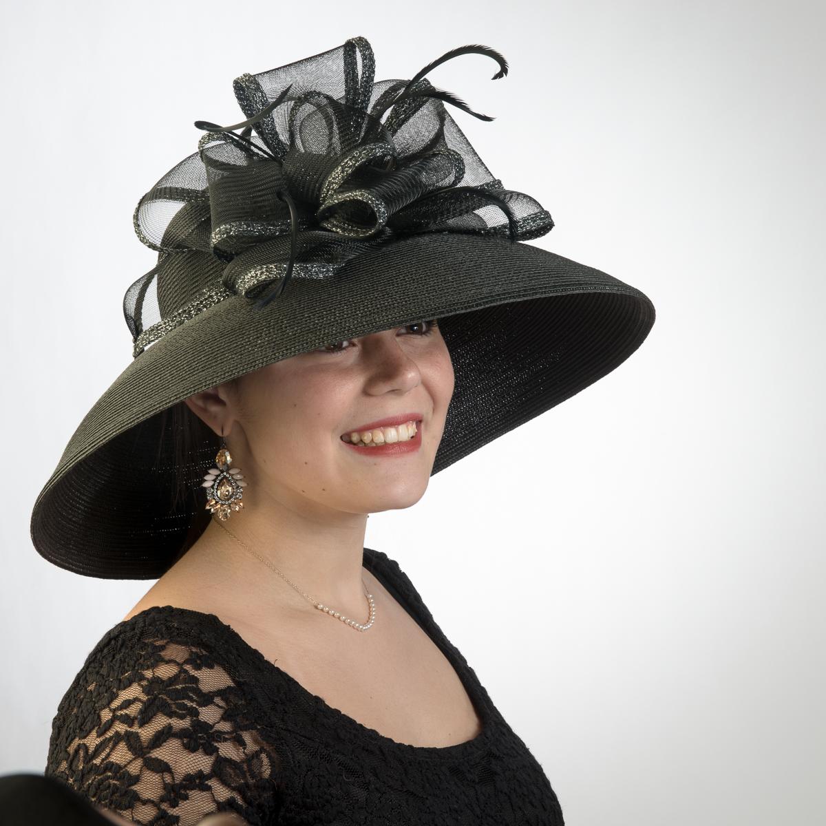 39b95ea803075 Black Lampshade Sun Protection Straw Hats-301778-BK- Sun Yorkos ...