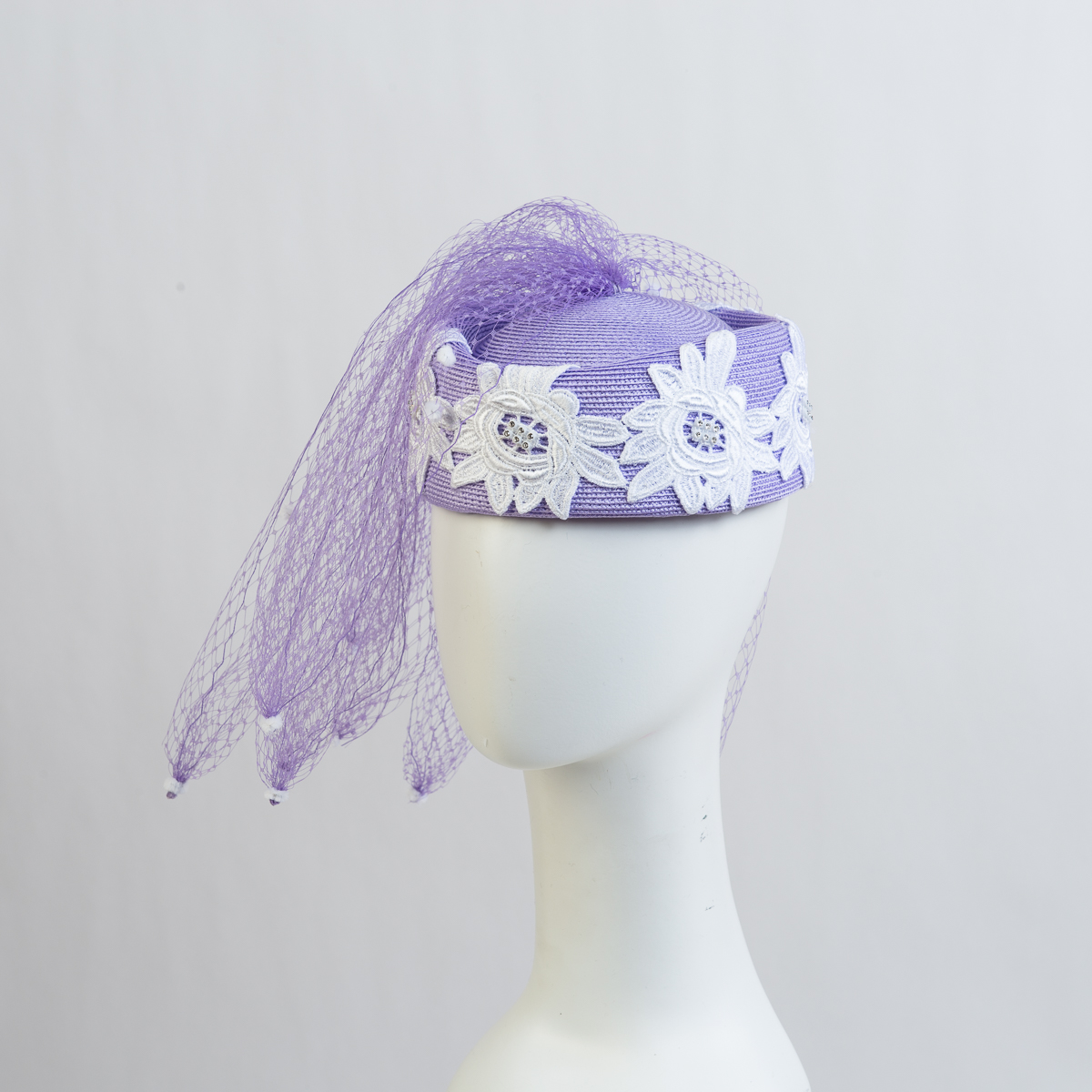 Lilac-White Lace With Veiling Strip Pillbox Hats-301780-LL.WT- Sun Yorkos  3c58a719e60