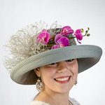 Grey Veil And Orchid Trim Sun Protection Straw Hats