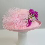 Pink Veil And Orchid Trim Sun Protection Straw Hats