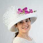 White Veil And Orchid Trim Sun Protection Straw Hats