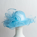 Ice Blue Beautiful Wave Trim Sun Protection Straw Hats