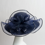 Navy Beautiful Wave Trim Sun Protection Straw Hats