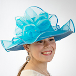Dark Turquoise Beautiful Wave Trim Sun Protection Straw Hats