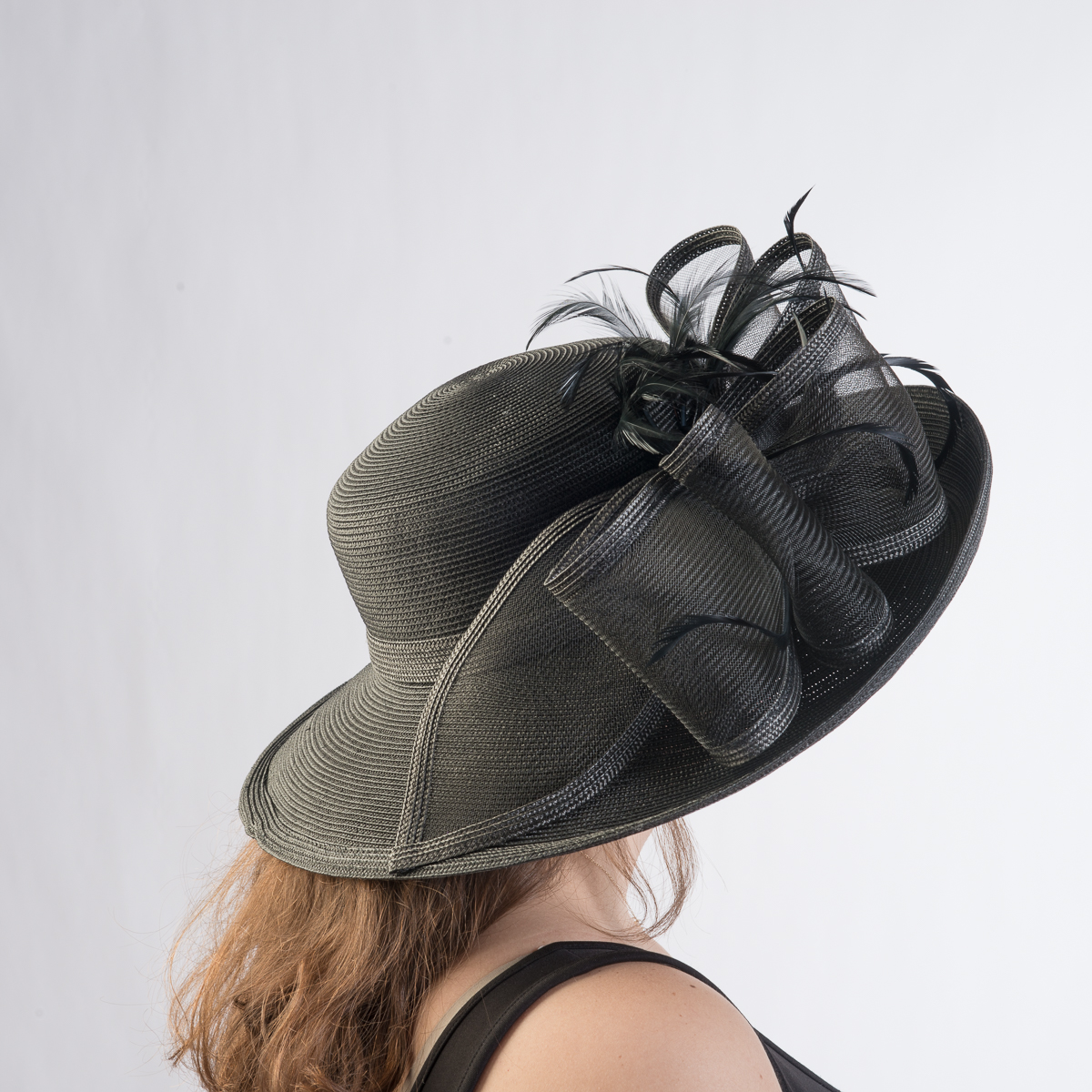 Bk Makeup Home: Black Large Off Face Poly Straw Hat-301806-BK- Sun Yorkos