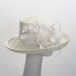 Ivory Medium Flower Bow Poly Kettle Sun Hats
