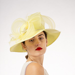 Yellow Crin Rhinestone Trim Medium Brim Poly Straw Sun Hats