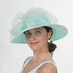 Mint Crin Rhinestone Trim Medium Brim Poly Straw Sun Hats