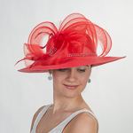 Red Crin Rhinestone Trim Medium Brim Poly Straw Sun Hats