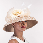 Flower Veil Feather Down Brim Poly Straw Hats