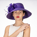 Purple Feather Flower Down Brim Poly Straw Church Hats 3d0652c01097