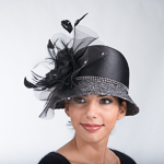 Cloche Satin Ribbon Silk Flower Hats