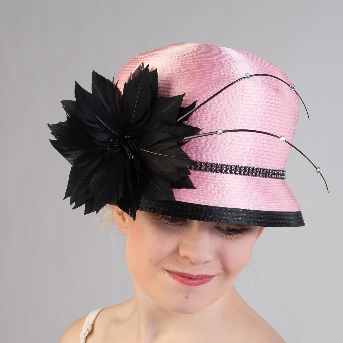 Pink Black Satin Ribbon Bubble Hat 321733 Pk Bk Sun