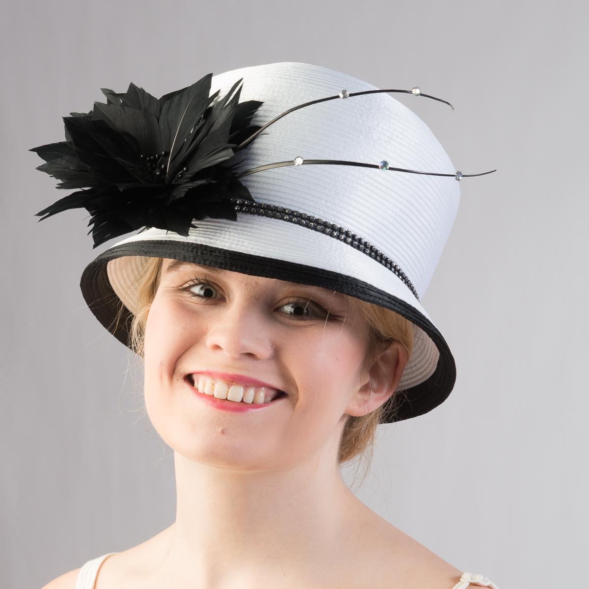 5470fa2235356 White-Black Satin Ribbon Bubble Hat-321733-WT.BK- Sun Yorkos ...